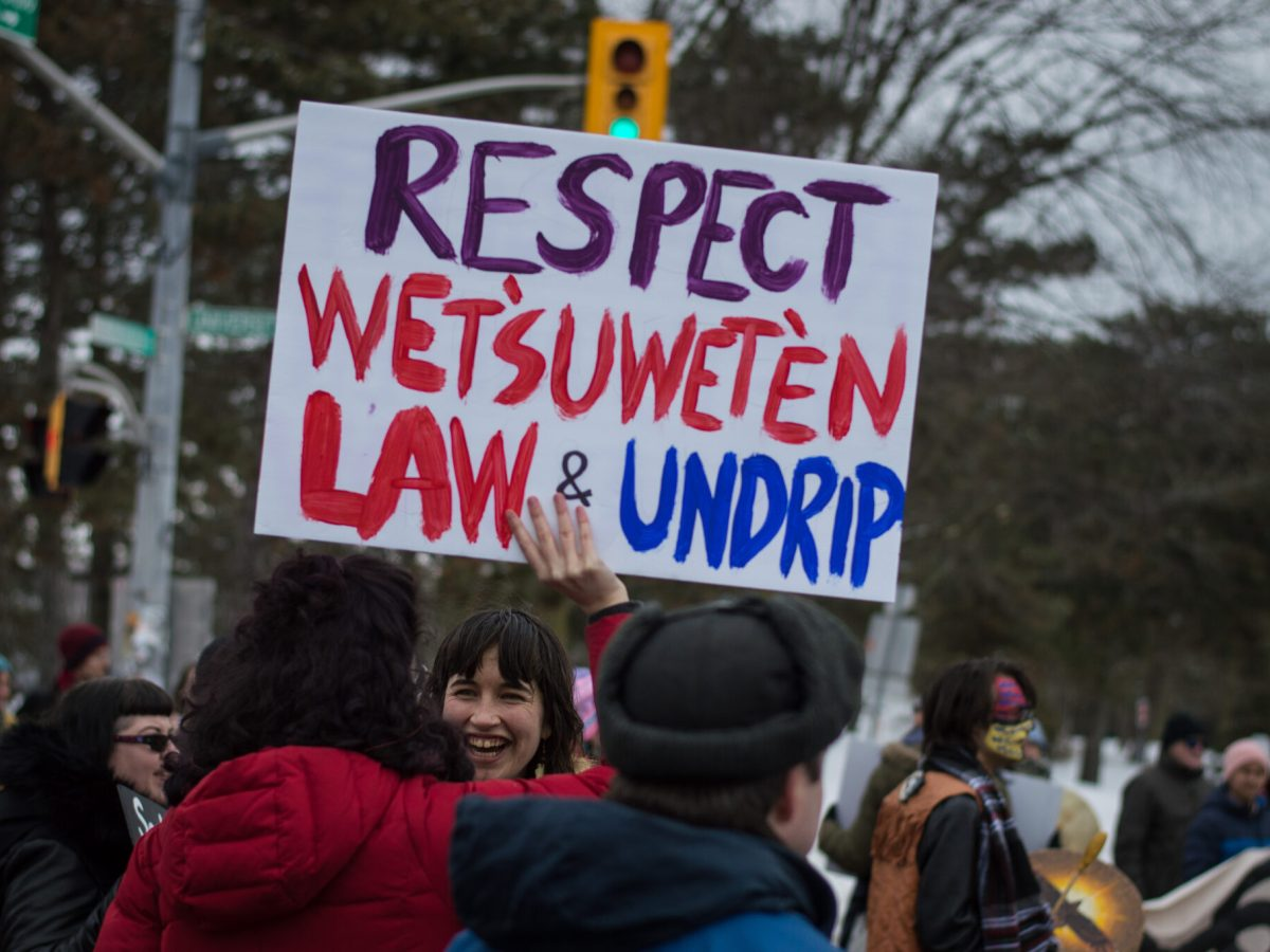 Poster with UNDRIP's name at winter 2020 protests